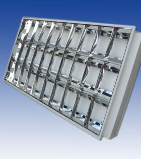 máng đèn led âm trần 600x1200 mm chóa inox