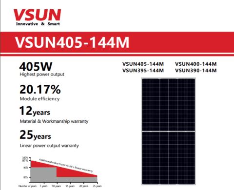 tấm pin năng lượng mặt trời 405w vsun