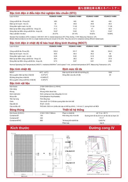 Tấm pin năng lượng mặt trời 450W VSUN450-144MH