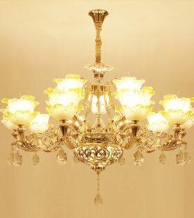 đèn chùm hoa 15 tay trang trí phòng khách